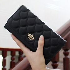 Women PU Leather Crown Long Wallet Print Card Holder Clutch Trifold Checkbook