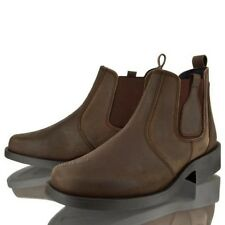 MENS WAXY LEATHER GENTS BROWN CHELSEA DEALER SLIP ON CASUAL WORK BOOTS SHOES