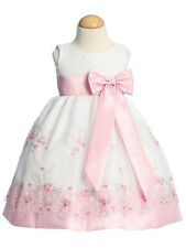 Girls Special Occasion Dress 2T Pink & White Embroidered Organza Dress Lito NWT