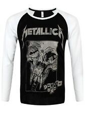 Metallica Damaged Baseball Shirt Men's Black & White Long-sleeve T-Shirt