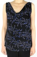 Women's Floral Black Slinky Cowl Neck Knit Tank Top With Plus Size Made in USA