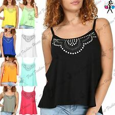 Womens Ladies Swing Top Diamante Studded Camisole Strappy Flared Tank Vest Dress