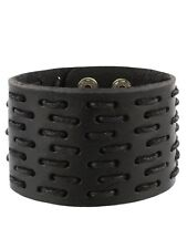 Black Leather Wristband With Woven Pattern 5x21cm