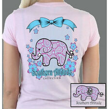 Country Life Southern Attitude Preppy Classy Elephant Pink Bright Girlie T-Shirt