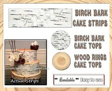 Birch bark tree topper Edible image frosting icing paper strips picture rings