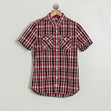 NEW SUPERDRY UK JAPAN WASHBASKET MIAMI RED NAVY PLAID BUTTON SHIRT S M L XL 2XL