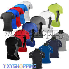 Mens Compression Body Thermal Under T-Shirts Tights Gear Sports Workout Tee Tops