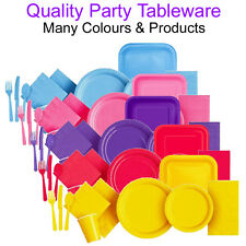 Party Tableware Paper Plates Napkins Cutlery Cups Plastic Disposable Coloured UK