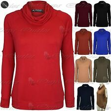 Womens Ladies Cowl Neck Cold Shoulder Cut Out Stretchy Long Sleeve T Shirt Top