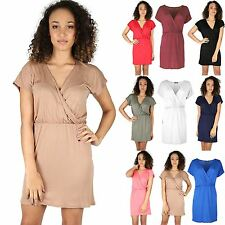 Womens Ladies Batwing Short Sleeve Wrap V Neck Ruched Tunic Mini Skater Dress