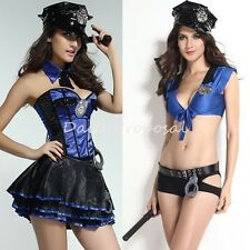 Sexy Policy Officer Cop Lady Dress & Shorts Complete Halloween Costume S-L USA