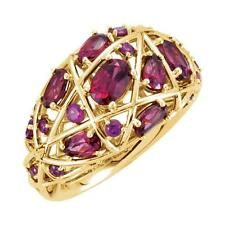 14K Yellow Gold Rhodolite Garnet Nest Ring Size 7