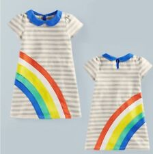 BNWT- Rainbow Kids Toddler Baby Girls Striped Summer Cotton Dress Clothes 2-7Y