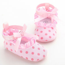 NEW Baby Girl Pink Polka Dot & Ruffle Vintage Crib Dress Shoes size 0-18 months
