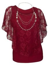 Plus Size Layered Lace Poncho Top with Necklace Detail Burgundy