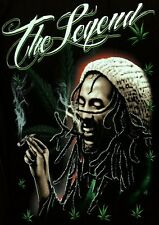 The Legend Smoking Joint Cannabis Black T-Shirt Pot Leaf Marijuana Weed Rasta