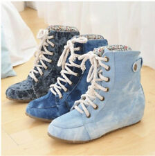 NEW Womens Roud Lace Up Ankle Boots Platform Wedge High Top Casual Denim Shoes