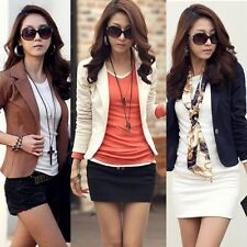 Korean Womens One Button Suit Slim Casual OL Top Coat Jacket Blazer Suit Outwear
