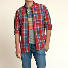 Hollister by Abercrombie and Fitch! New Mens Red Blue White Plaid Shirt-LARGE