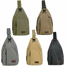 New Mens Backpack Canvas Military Rucksack Shoulder Hiking Crossbody Sports Bags