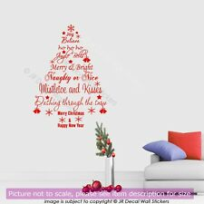 Merry Christmas Quote Xmas Tree Vinyl Wall Art Stickers Shop Window Decor Decal