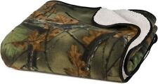 Soft Reversible Fleece & Sherpa Camo Throw Blanket / Hunting/ Camping/ Gift Item