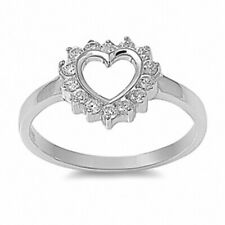 Heart Ring Solid 925 Sterling Silver 1CTClear Crystal CZ Valentines Love Gift