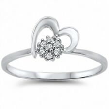 Half Cluster Heart Ring Solid Sterling Silver Russian CZ Valentines Love Gift