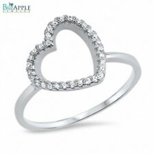 Promise Heart Charm Ring Solid 925 Sterling Silver Russian CZ
