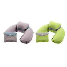New Inflatable Travel PVC Plane  Pillow Rest Neck U Shaped Air Flocked