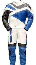 2pc Motorcycle Riding Racing Leather Track Suit w/ Padding All Leather Drag Suit