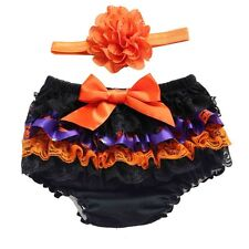 Infant Kid Baby Girl Lace Ruffle PP Pants Bloomers Shorts Nappy Cover W/Headband