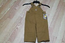 CARHARTT INFANTS WASHED BIB OVERALL, SIZE 12MONTHS, BROWN, CM8609 D15AI 210, NWT