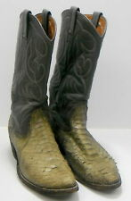 Snake Vintage Nocona Two-Tone Gray Leather Cowboy Boots Style 9052