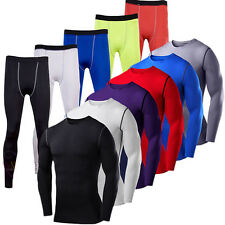 Mens Compression Under Shirt Armour Base Layer Stretchy Pants Joggers Trousers