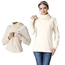 Turtleneck Warm Long Sleeve Maternity Clothes Nursing Top Breastfeeding T-shirt