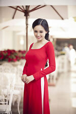 Red Vietnam Ao Dai, Chiffon Dress, White Satin Pant, Round Neck, Best Price