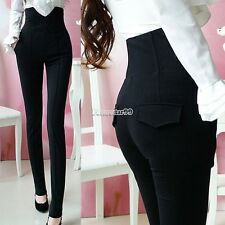 Fashion Womens High Waist Stretch Skinny Leggings Pencil Pants Trousers Slim FT