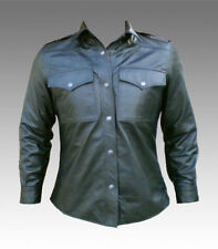 Men's Black Napa Leather Shirt New All Sizes #001