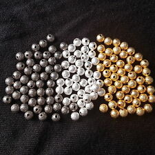 Brass round 6mm stardust beads - silver/gold/bronze