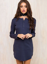 New Women's Minkpink Rib Henley Tee Dress