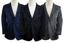 Toddlers Boys Corduroy Blazer Jacket Elbow Patches 2T-14 Black Navy Charcoal