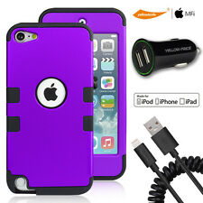 2.4A Car Charger Lightning Cable F iPod Touch 5 6 Luxury Hybrid Armor Tough Case
