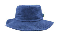 Terry Towelling Bucket Hat-Wide Brim Navy Camping Sun Hat