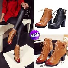NEW Retro Women's High Heel Punk Buckle Motorcycle Chelsea Lace Up Ankle Boots