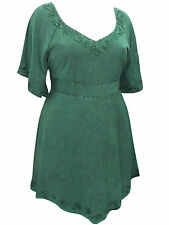 PLUS SIZE eaonplus GEM GREEN Medieval Embroidered Blouse Tunic Top 18/20 - 30/32