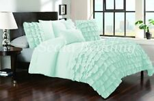 Waterfall Half Ruffle Duvet Cover Set Egyptian Cotton Bedding Aqua SOLID CHOOS
