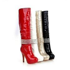 Womens Platform Shoes Shiny Leather High Heel Side Zip Knee High Boots US 2-10.5