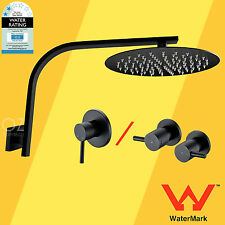 WELS Matt Black Thin Round Shower Head Rose Gooseneck Wall Arm Mixer Tap Set