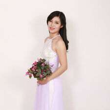 Lace Ao Dai Vietnam, Silver Chiffon and Lace, White Satin Pant, Sleeves Less